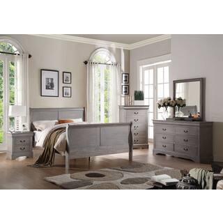 Louis Philippe III Antique Grey Wooden Bed