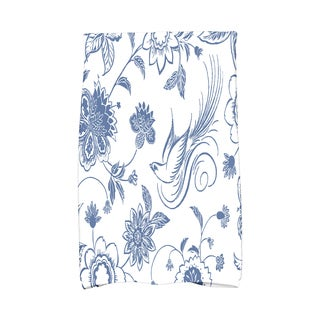 16 x 25-inch, Traditional Bird Floral, Floral Print Kitchen Towel