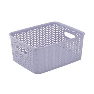 Simplify Lilac Plastic Herringbone Small Storage Tote