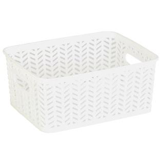 Simplify White Herringbone Small Storage Tote