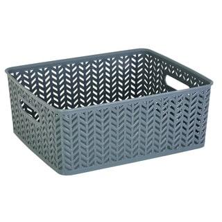 Simplify Grey Plastic Herringbone Medium Storage Tote
