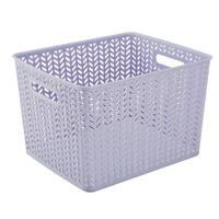 Simplify Lilac Plastic Herringbone Large Storage Tote