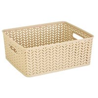 Simplify Ivory Herringbone Medium Storage Tote
