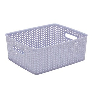 Simplify Lilac Plastic Herringbone Medium Storage Tote