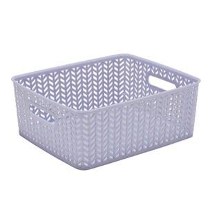 Simplify Lilac Plastic Herringbone Medium Storage Tote