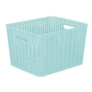 Simplify Dusty Blue Plastic Large Herringbone Storage Tote