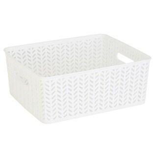 Simplify White Plastic Herringbone Medium Storage Tote