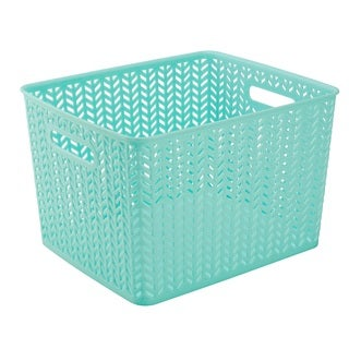 Simplify Mint Herringbone Large Storage Tote