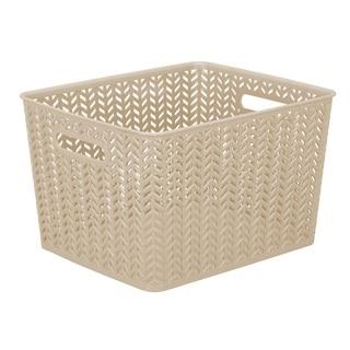 Simplify Taupe Herringbone Polypropylene Large Storage Tote