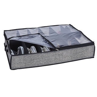 Simplify Black Plastic 12-pair Under-the-bed Shoe Storage Box