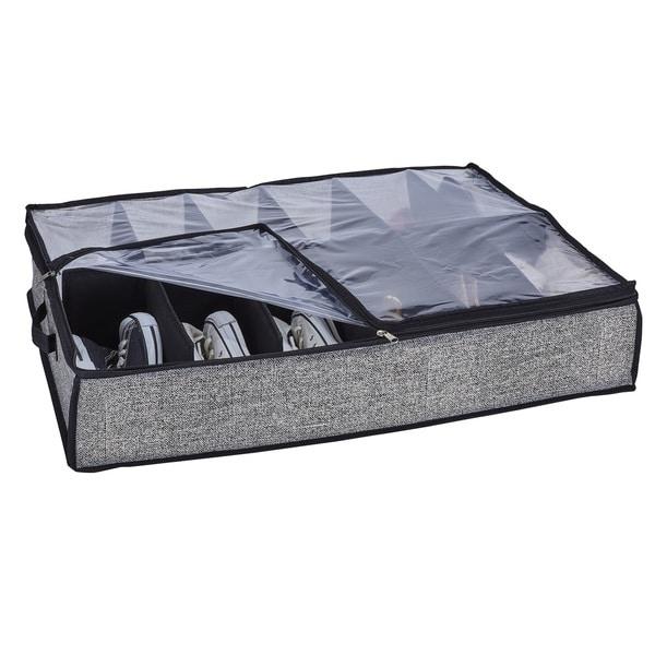 "Simplify Black Plastic 12-pair Under-the-bed Shoe Storage Box - L29""x W24""x H6"". Opens flyout."