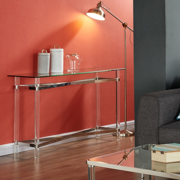 acrylic console table canada clear australia mixed media chrome glass peekaboo