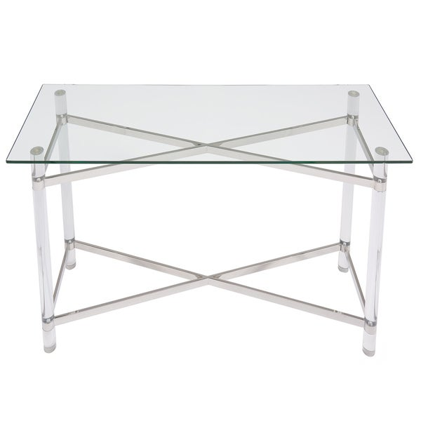 morelia mixed media chrome glass acrylic console table free shipping today