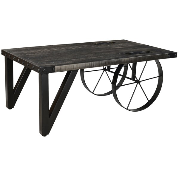 Zahir distressed grey mango wood cast iron coffee table for Gray wood and metal coffee table
