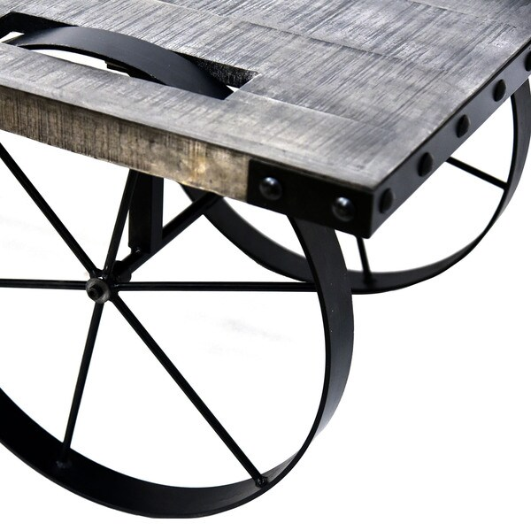 Zahir Distressed Grey Mango Wood/ Cast Iron Coffee Table   Free Shipping  Today   Overstock.com   19148201