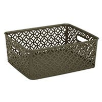 Simplify Pewter Medium Trellis Storage Tote