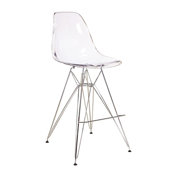 Handmade Mid Century Modern Dsw Clear Counter Stool With Metal Legs China