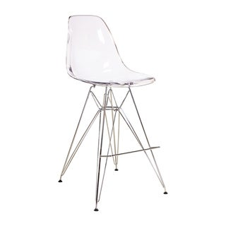 Charles Eames DSR Style Clear Counter Stool with Metal Legs