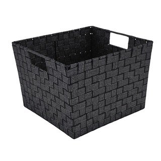 Simplify Large Woven Strap Storage Tote in Black/Silver