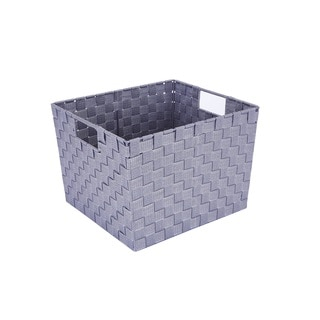 Simplify Lilac Polypropylene Large Woven Strap Storage Tote