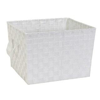 Simplify Large White/ Silver Woven Strap Storage tote