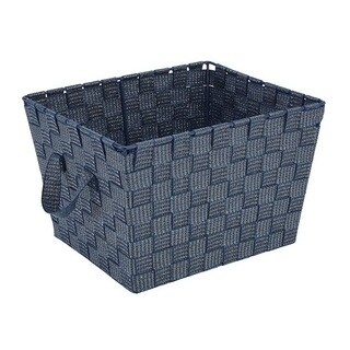 Simplify Navy Plastic Woven Strap Storage Tote