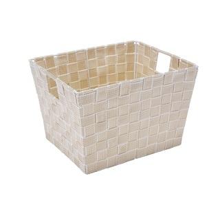 Simplify Medium White/ Gold Woven Strap Storage tote