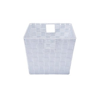 Simplify Medium White/Silver Woven Strap Storage Tote