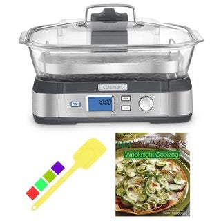 Cuisinart STM-1000 CookFresh Digital Glass Steamer + Silicone Spatula & Cookbook, Stainless Steel