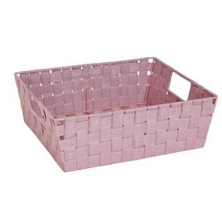 Simplify Large Rosequartz Lurex Striped Woven Strap Shelf Tote