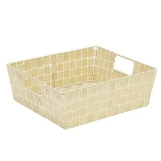 Simplify Large White/Gold Lurex Striped Woven Strap Shelf Tote