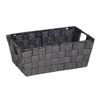 Simplify Small Black/Silver Lurex Striped Woven Strap Shelf Tote