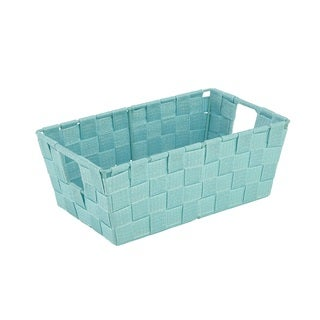 Simplify Lurex Mint Green Small Striped Woven Strap Shelf Tote
