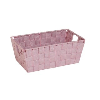 Simplify Small Rosequartz Lurex Striped Woven Strap Shelf Tote