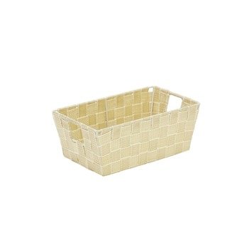 Simplify Small White/ Gold Lurex Striped Woven Strap Shelf Tote
