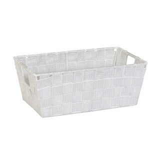 Simplify White/Silver Lurex Striped Woven-strap Small Shelf Tote