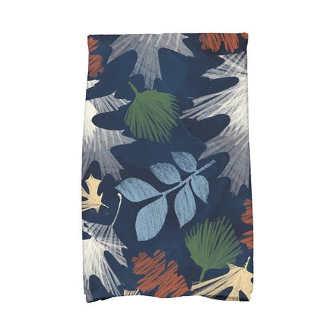 16 x 25-inch, Watercolor Leaves, Floral Print Kitchen Towel