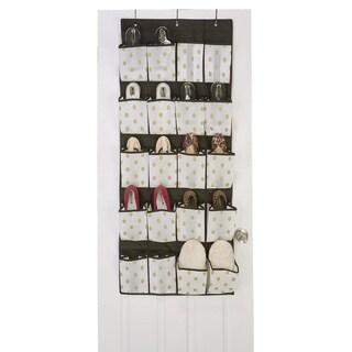 The Macbeth Collection White/Gold 20-Pocket Non-Woven Shoe Organizer