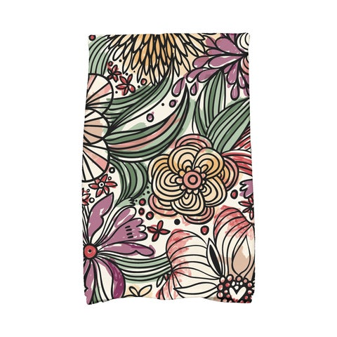 16 x 25-inch, Zentangle Floral, Floral Print Kitchen Towel