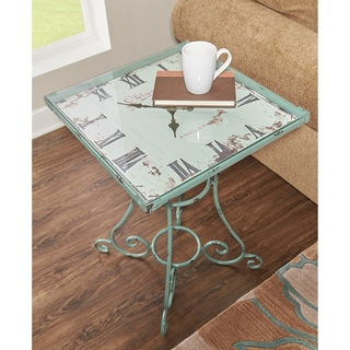 Powell Elegance Metal Accent Clock  Table