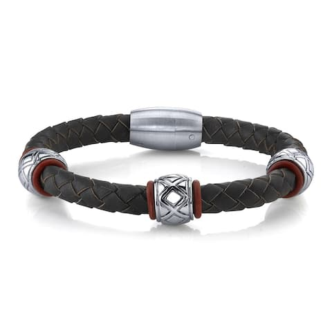 Men's Stainless Steel and Genuine Leather Bead Bracelet