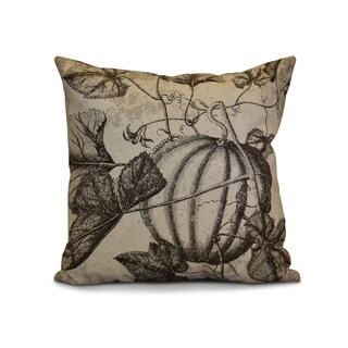 16 x 16-inch, Antique Pumpkin, Floral Print Outdoor Pillow