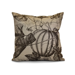 16 x 16-inch, Antique Pumpkin, Floral Print Pillow