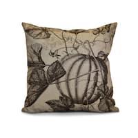 16 x 16-inch, Antique Pumpkin, Floral Print Pillow