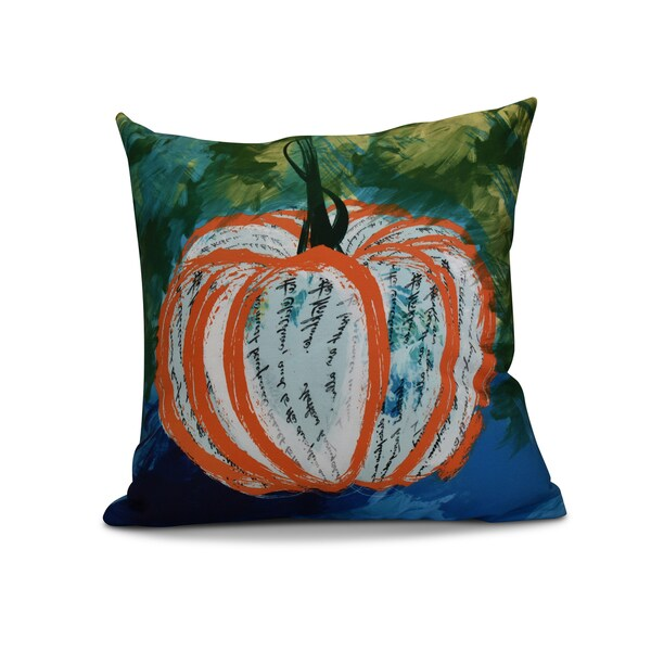 16 x 16-inch, Artistic Pumpkin, Geometric Print Outdoor Pillow
