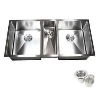 16-gauge Stainless Steel 42-inch 15-millimeter Radius Triple-bowl Undermount Kitchen Sink Combo
