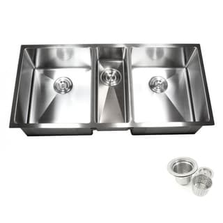 16-gauge Stainless Steel 42-inch 15-millimeter Radius Triple-bowl Undermount Kitchen Sink Combo