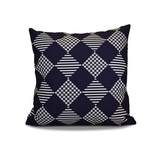 16 x 16-inch, Check It Twice, Geometric Holiday Print Outdoor Pillow