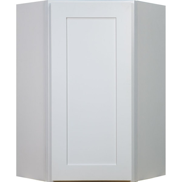 Everyday Cabinets 27 Inch White Shaker Diagonal Corner Wall Kitchen Cabinet