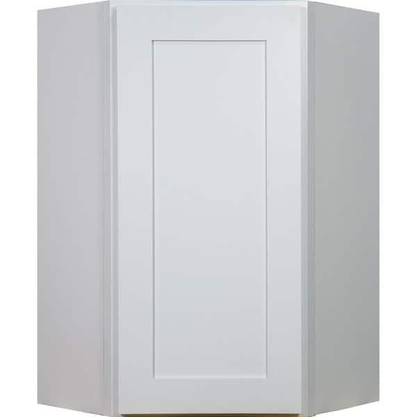 Everyday Cabinets 27 Inch White Shaker Diagonal Corner